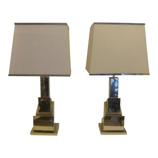A Romeo Rega Pair of Skyscraper Table Lamps (signed)