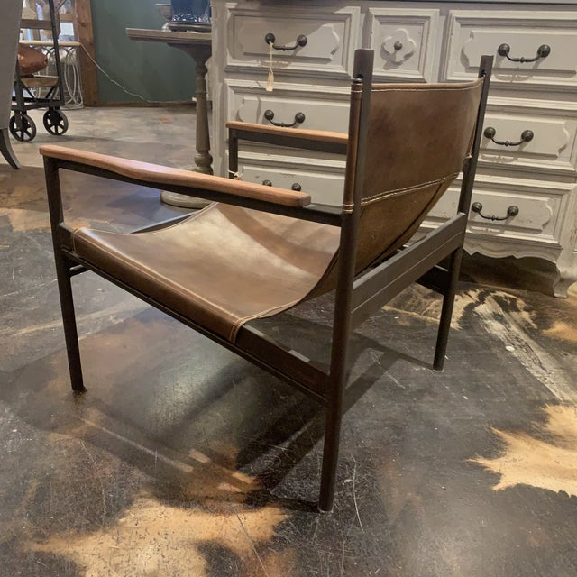 Metal Vachetta Coffee Leather Barcelona Chair by Cisco Brothers For Sale - Image 7 of 13