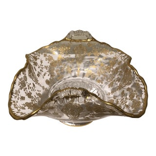 Baccarat Gold Detailed Crystal Bowl For Sale