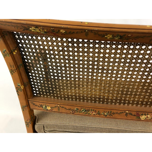 Venetian Style Caned and Hand Painted Loveseat Settee For Sale - Image 12 of 13