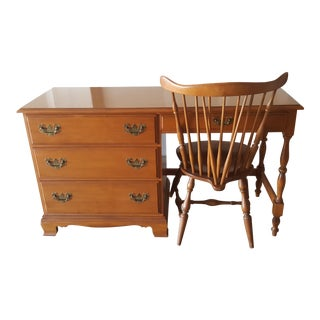 Heywood and Wakefield Mid-Century Modern Maple Writing Desk and Chair