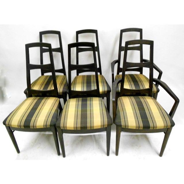 Mid-Century Black Teak Dining Chairs - Set of 6 - Image 2 of 8