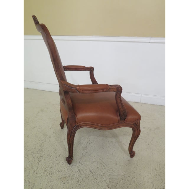 1990s Vintage Ethan Allen French Louis XV Style Leather Arm Chair For Sale In Philadelphia - Image 6 of 10