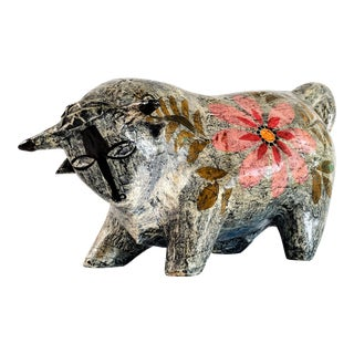 1970s Mexican Abstract Picasso-Like Paper Mache Bull Sculpture For Sale