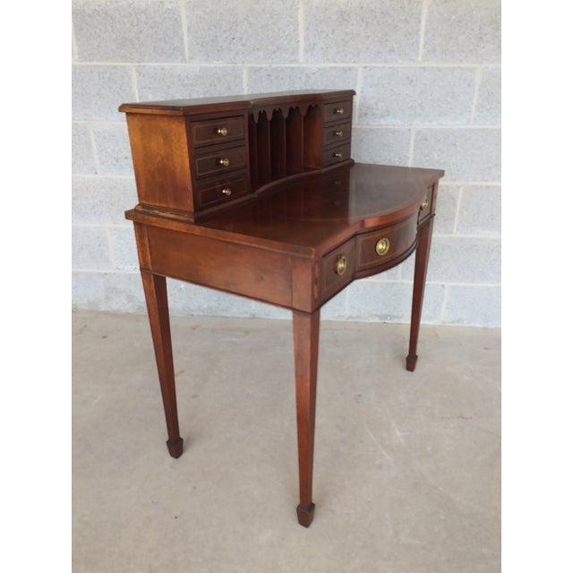 Hepplewhite Baker Furniture Inlaid Mahogany 9 Drawer Writing Desk For Sale - Image 3 of 9