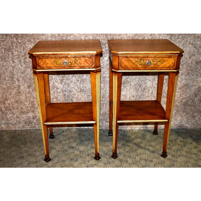 Antique French Satinwood Side Tables with Painted Designs - a Pair For Sale - Image 13 of 13