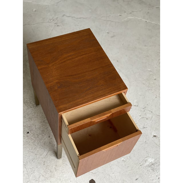 Mid 20th Century Mid Century Walnut and Brass Filing Cabinet For Sale - Image 5 of 6