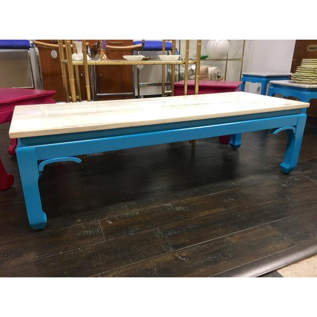 20th Century Ming Blue Chow Leg Marble Coffee Table For Sale - Image 4 of 11