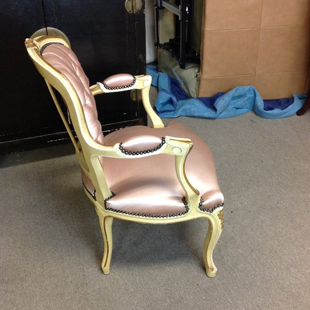 French Antique Pink Tufted Silk Chair & Ottoman - a Pair For Sale - Image 5 of 11