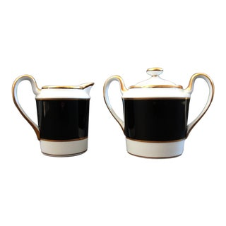 Renaissance Black on White Sugar Bowl & Creamer Set by Fitz & Floyd - a Pair For Sale
