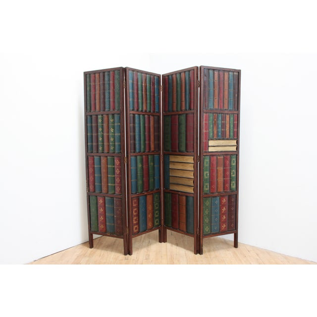 Vintage Trompe l'Oeil Folding Screen- Library Bas Relief Room Divider For Sale - Image 9 of 9