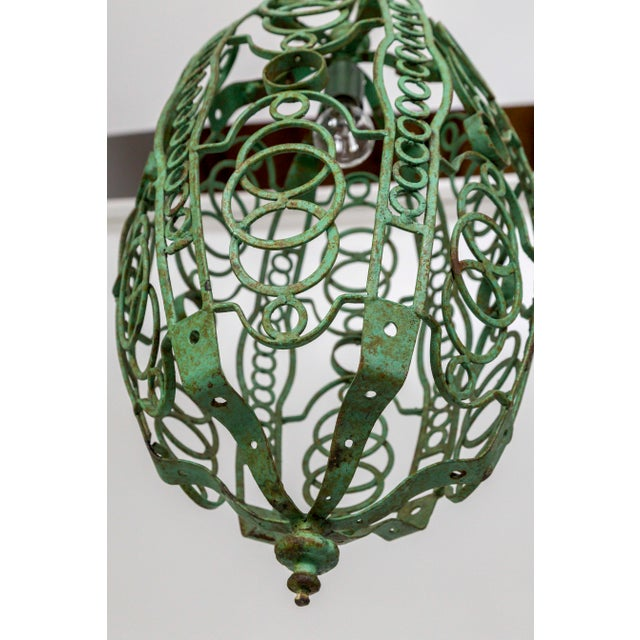 Copper 1920's Art Deco Green Oblong Cage Lantern With Circle Motif For Sale - Image 7 of 11
