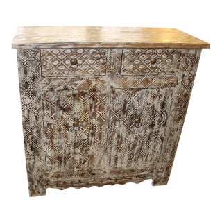 1920's Vintage White Chest Sideboard Side Table For Sale