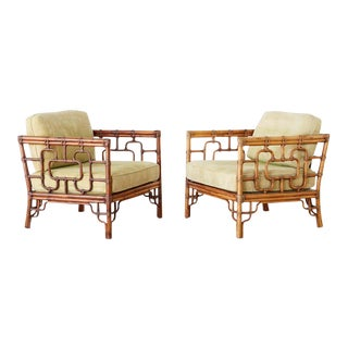 McGuire Marview Bamboo Rattan Cube Lounge Chairs - a Pair For Sale