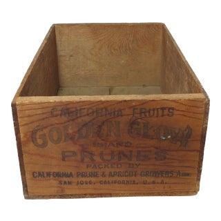 1930s Americana California Prunes Wood Shipping Box For Sale