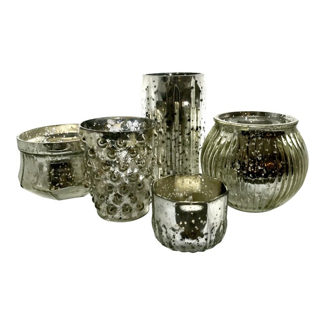 Mercury Glass Votives - Set of 5 For Sale