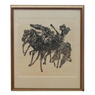 """Vintage """"Horsers"""" Woodblock Print by Jacob Landau For Sale"""