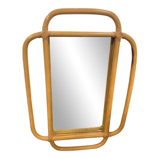 Boho Chic Mid Century Modern Rattan Mirror For Sale