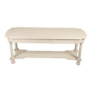 White Sofa Table With Lower Shelf For Sale