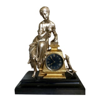 Antique French Figural Mantel Clock With Pandora For Sale