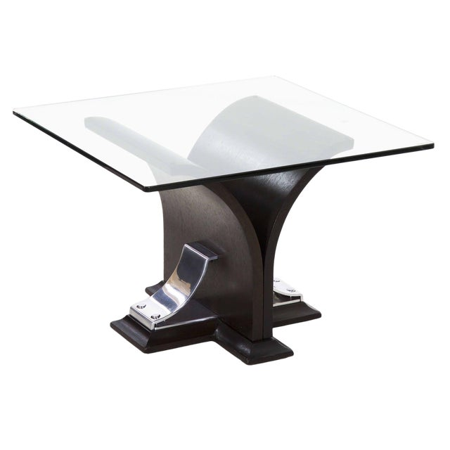 Art Deco Walnut and Aluminum Side Table For Sale