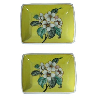 Lot of 2 Quality Asian Artist Hand Painted Porcelain Yellow Plate For Sale