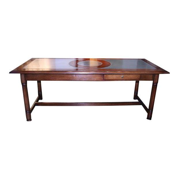 Italian 50's Inlaid Zinc Oak Table For Sale