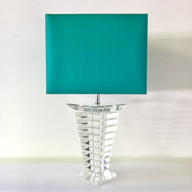 Large Single Tapered Stacked Lucite Table Lamp 1970s For Sale - Image 6 of 6