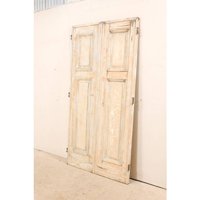 Pair of 19th Century Painted Wood French Doors With Nice Recessed Panels For Sale - Image 9 of 10
