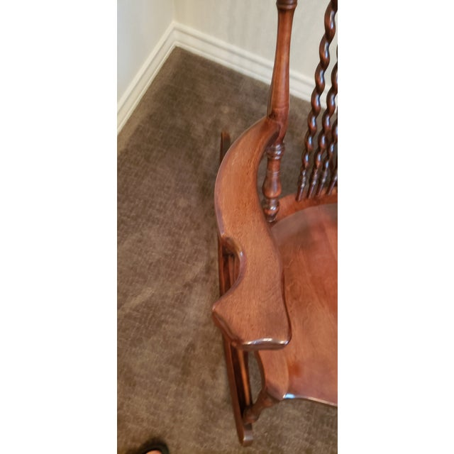 Wood 19th Century Carved Mahogany Twist Spindle Rocking Chair For Sale - Image 7 of 8