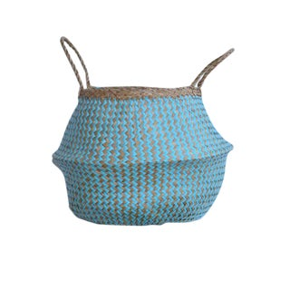 Large Aquamarine Seagrass Belly Basket For Sale