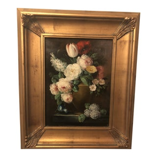 1980s Flower Vase Oil on Canvas Painting For Sale