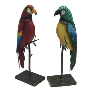 Spanish Parrot Sculptures on Stands - a Pair For Sale