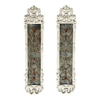 Italian Antique Aglomise Pier Mirrors - a Pair For Sale