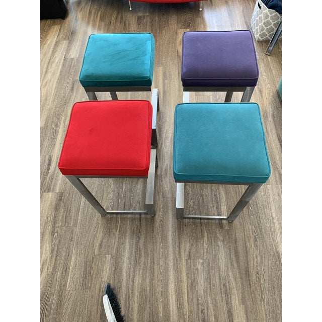 1970s 1970s Chrome and Glass High-Top Table & 4 Stools - 5 Pieces For Sale - Image 5 of 12