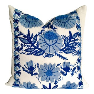 Hand Embroidered Schumacher Pillow For Sale