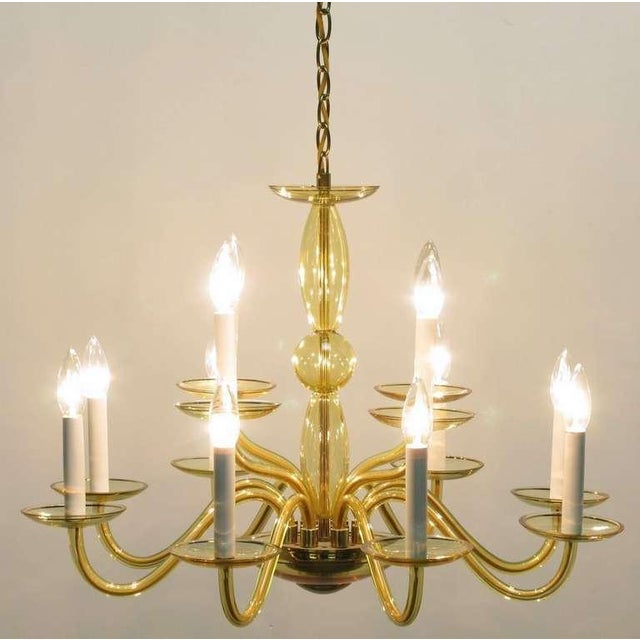 1940s 1940s Twelve-Arm Murano Deep Champagne Glass Chandelier For Sale - Image 5 of 9