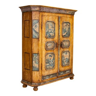 1795 Antique German Original Painted Armoire With Blue Figures For Sale