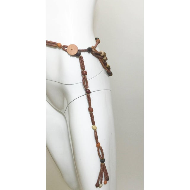 1970s Vintage Wood Bead and Tassel Belt & Necklace For Sale - Image 5 of 6