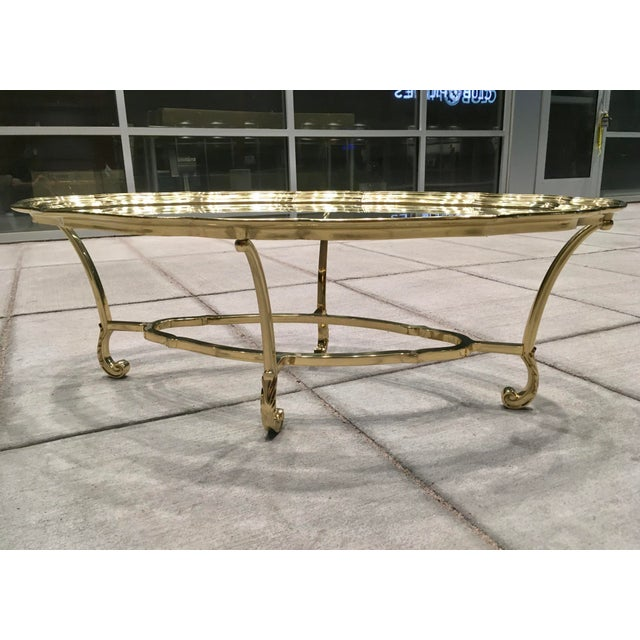 Scalloped Edge Brass and Glass Mid-Century Modern Coffee Table by Labarge For Sale - Image 13 of 13