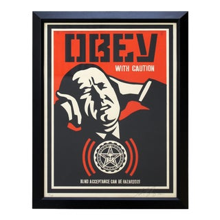 "Framed ""Obey With Caution"" Obey Giant Screenprint by Shepard Fairy 73/250 For Sale"