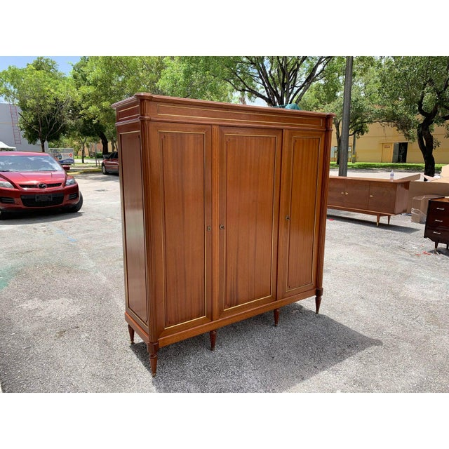 Sienna 1910s French Louis XVI Antique Mahogany Armoire For Sale - Image 8 of 13
