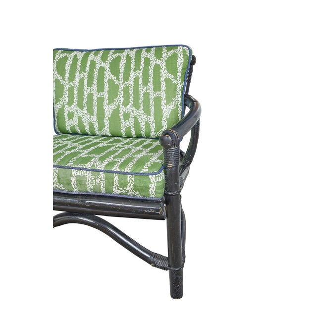 Traditional Vintage Bamboo Chair With Ferrick Mason's Espalier Reverse - Hedge Fabric For Sale - Image 3 of 7