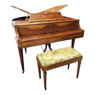 """1937 William Zaiser Designed Wurlitzer Model 235 Symmetrical """"Butterfly"""" Grand Piano in the Style of Duncan Phyfe For Sale"""