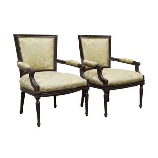 Early 20th Century Louis XVI Style Upholstered Fauteuils- A Pair For Sale