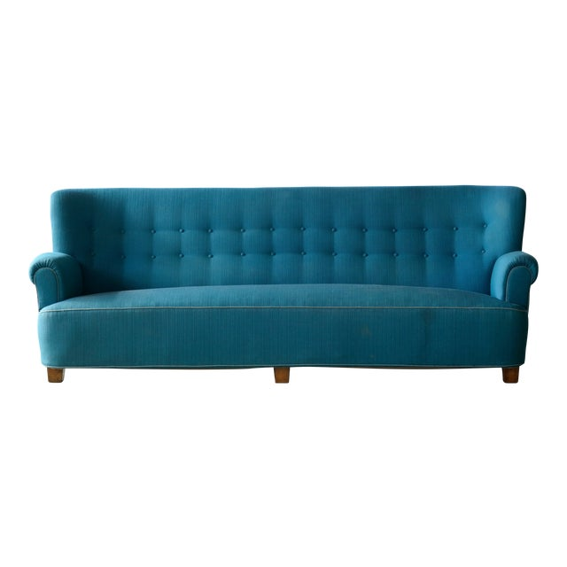 Danish Midcentury Boesen Style Large Four-Seat Danish Sofa, 1940s For Sale