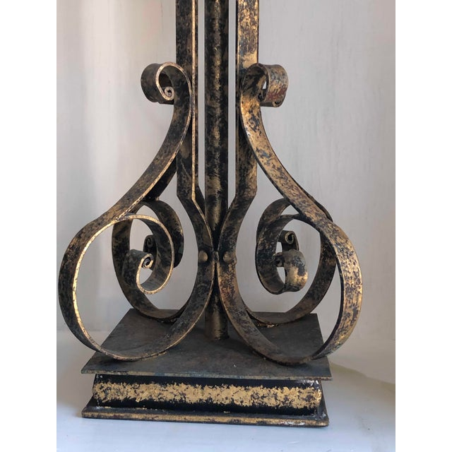 Gold Brushed Metal Lamps With Four Hanging Brushed Gold Fobs - a Pair For Sale In Dallas - Image 6 of 8