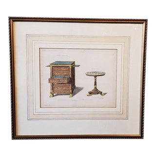 Early 19th Century Hand Colored Interior Design Engraving C.1820s For Sale