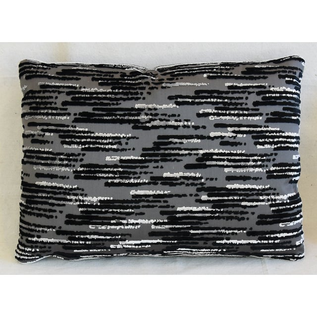 "Abstract Modern Zinc Textiles Cut & Uncut Velvet Feather/Down Pillows 22"" X 16"" - Pair For Sale - Image 3 of 13"