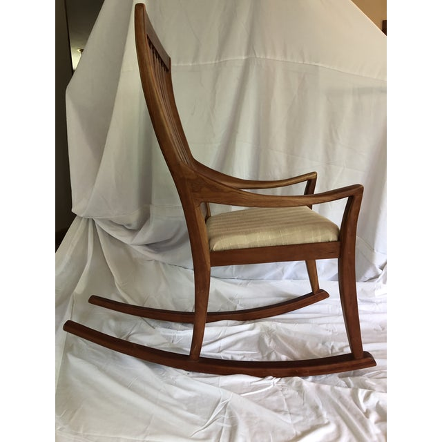 Mid-Century Modern Mid-Century Modern Traditional Cherry and Walnut Rocking Chair For Sale - Image 3 of 13